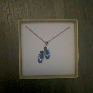 """Charm Diamond Centre """"Blue Flip Flops"""" Necklace"""